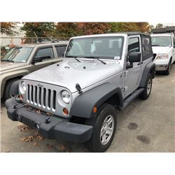 2012 JEEP WRANGLER SPORT, GREY 2DR, V6, GAS, MANUAL, VIN#1C4AJWAGXCL197164, 25,292KMS,