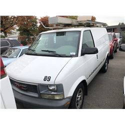 2003 GMC SAFARI VAN, WHITE, GAS, AUTOMATIC, VIN#1GTDM19X13B510992, 124,867KMS, RD, CARGO WITH TOOL