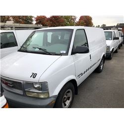 2002 GMC SAFARI, WHITE, VAN, GAS, AUTOMATIC, VIN#1GTDM19XX2B516613, 68,468KMS, RD, CARGO WITH TOOL