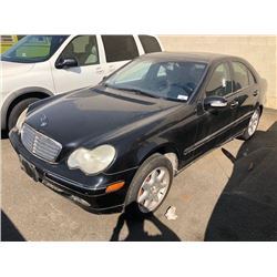 2002 MERCEDES C240, BLACK, 4DRSD, GAS, AUTOMATIC, VIN#WDBRF61J22F252816, TMU, *NO KEYS*,