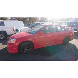 2003 HONDA CIVIC SI, RED, 2DRCP, GAS, AUTOMATIC, VIN#1HGEM229X3L807082, 265,937KMS,