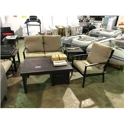 5 PIECE BRONZE CONVERSATION SET, INCLUDES LOVESEAT, 2 SINGLE SOFAS,OFFSET FIREPIT,& END TABLE