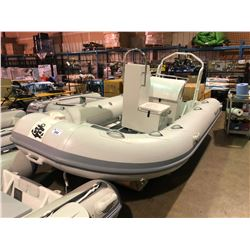BAKERVIEW  GREY AND WHITE ALU420HDL  8  PERSON HARD BOTTOM INFLATABLE BOAT WITH CONSOLE SIDE SEAT,