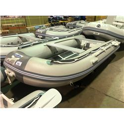 BAKERVIEW  GREY AND WHITE ALU330D  5  PERSON HARD BOTTOM INFLATABLE BOAT (CART NOT INCLUDED)