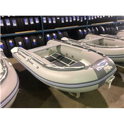 BAKERVIEW  GREY AND WHITE ALU270DL  5  PERSON HARD BOTTOM INFLATABLE BOAT WITH KEEL LOCKER (CART