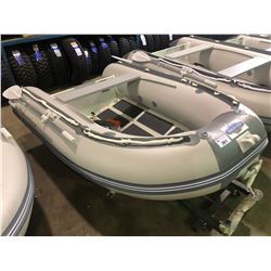 BAKERVIEW  GREY AND WHITE ALU240D 4  PERSON HARD BOTTOM INFLATABLE BOAT (CART NOT INCLUDED)