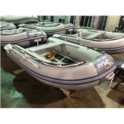 BAKERVIEW  GREY AND WHITE ALU240  4  PERSON HARD BOTTOM INFLATABLE BOAT (CART NOT INCLUDED)
