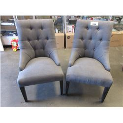 PAIR OF GREY CLOTH STUDDED CHAIRS