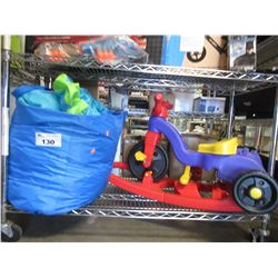 KIDS ROCKING CYCLE & LITTLE TIKES INFLATABLE TOY