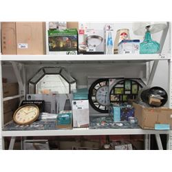 SHELF LOT OF ASSORTED HOUSEHOLD ITEMS