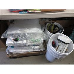LOT OF ASSORTED PAPER, BUCKETS, TOOLS & HARDWARE