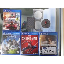 4 PLAYSTATION 4 GAMES, BF1 COLLECTIBLE GAME CASE, CARDS, & PATCH