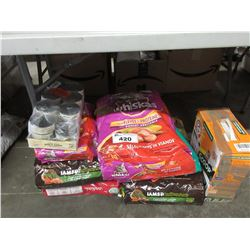 LARGE LOT OF ASSORTED CAT FOOD & LITTER