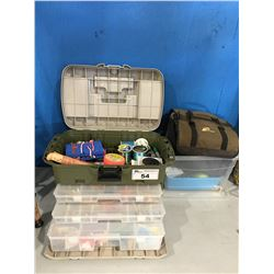 FLAMBEAU TACKLE BOX FILLED WITH ASSORTED FRESH & SALT WATER TACKLE, PLANO TACKLE BAG & SMALL  BOX
