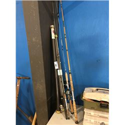 4 FISHING RODS WITH REELS & 2 ROD HOLDERS