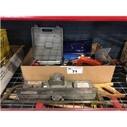 GROUP OF ASSORTED TOOLS, BRAD NAILER, PROPANE TORCH, ELECTRIC PLANER, MEAT SAW & ROUTER TABLE