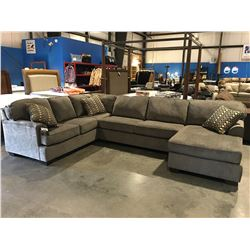 3 PCE GREY UPHOLSTERED SECTIONAL SOFA