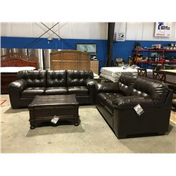 2 PCE BROWN LEATHER SOFA & LOVE SEAT SET