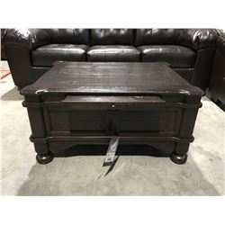 CONTEMPORARY RUSTIC LOOK COFFEE TABLE WITH SINGLE DRAWER & SLIDE OUT TRAY