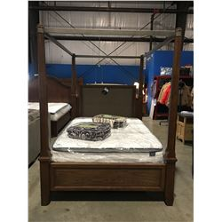 QUEEN SIZE 4 POSTER CANOPY BED (HEADBOARD, FOOTBOARD & RAILS)