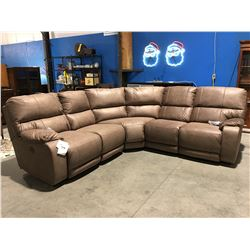 3 PCE BEIGE UPHOLSTERED POWER RECLINING SECTIONAL SOFA SET
