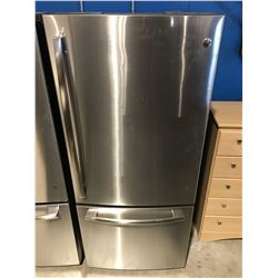 NEW GE STAINLESS STEEL 2 DOOR REFRIGERATOR (TINY DIMPLE IN STAINLESS TOP LEFT CORNER)