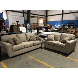 2 PCE LIGHT BEIGE UPHOLSTERED SOFA & LOVE SEAT SET WITH 6 THROW CUSHIONS