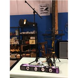 TELEBOOM MICROPHONE STAND, HERCULES MUSIC STAND AND PAIR OF DRUM STICKS