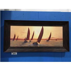 """FRAMED PRINT ON BOARD SAIL BOAT PICTURE BY DIANE L ROMANELL 46.5"""" X 22.5"""""""