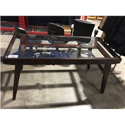 CONTEMPORARY MID CENTURY MODERN INSPIRED GLASS TOP OFFICE DESK