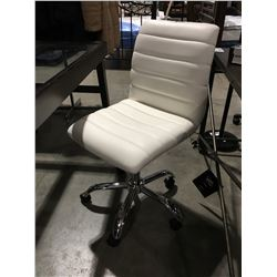 WHITE & CHROME OFFICE CHAIR (2 TINY TEARS TOP CORNERS OF BACK REST)