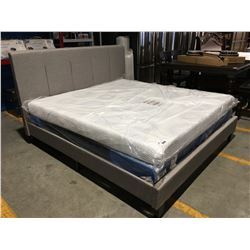 GREY UPHOLSTERED KING SIZE BED (HEADBOARD, FOOTBOARD & RAILS)