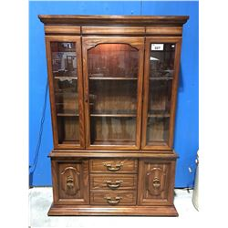 OAK LIGHTED BUFFET & HUTCH