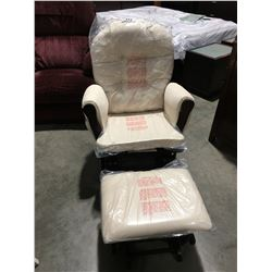 GLIDER ROCKER WITH MATCHING FOOT STOOL (MINOR CRACK FRONT BOARD UNDER SEAT CUSHION)