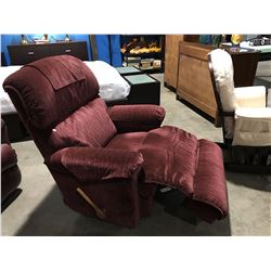 LA-Z--BOY BURGUNDY UPHOLSTERED ROCKER RECLINER