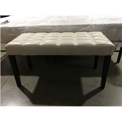 WHITE LEATHER UPHOLSTERED BENCH SEAT (SMALL TEAR ON 1 CORNER)