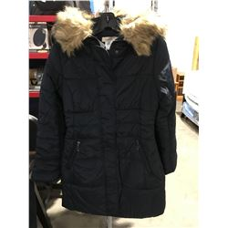 COSTA BLANCA LADIES FAUX FUR LINED COLLAR LONG WINTER JACKET NAVY BLUE SIZE M