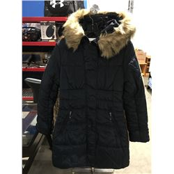 COSTA BLANCA FAUX  FUR LINED COLLAR LADIES LONG WINTER COAT NAVY BLUE SIZE M