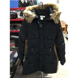 COSTA BLANCA FAUX  FUR LINED COLLAR LADIES LONG WINTER COAT NAVY BLUE SIZE S