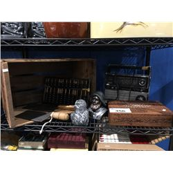 SHELF LOT OF ASSORTED VINTAGE COLLECTIBLES - MEAT CLEAVERS, CARVED WOODEN BOX ECT.