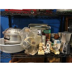 SHELF LOT OF ASSORTED VINTAGE ITEMS - COFFEE POT, FIGURINES ECT.