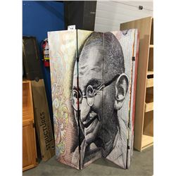 GHANDI $1000 DOLLAR BANK NOTE 4 SECTION ROOM DIVIDER SCREEN