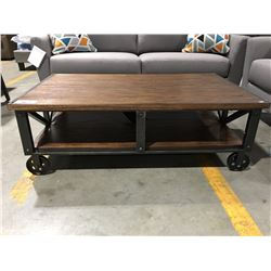 CONTEMPORARY RUSTIC LOOK SOLID WOOD AND METAL COFFEE TABLE