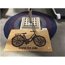 ROUND WOVEN MULTI COLORED FLOOR RUG & LIFE ENJOY THE RIDE FRONT DOOR MAT