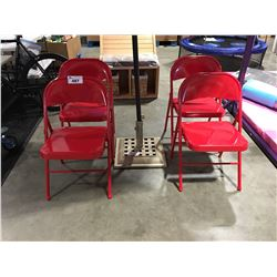 SET OF 4 RED METAL FOLDING CHAIRS