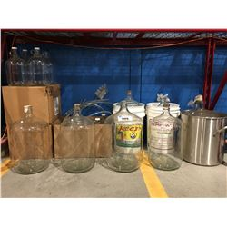 LARGE LOT OF ASSORTED GLASS CARBOYS & WINE MAKING/STORING BOTTLES