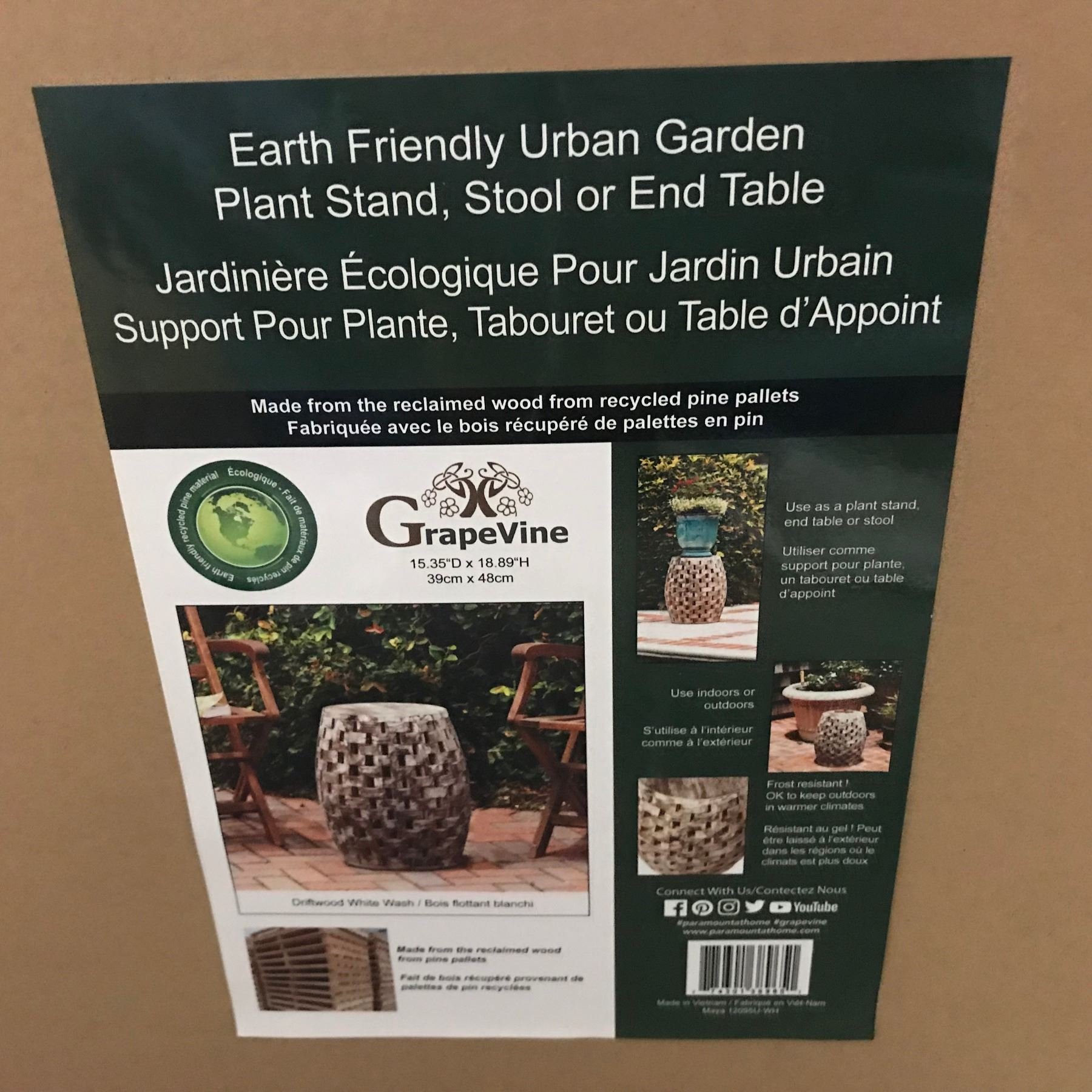 NEW GRAPEVINE EARTH FRIENDLY URBAN GARDEN PLANT STAND/STOOL/END ...