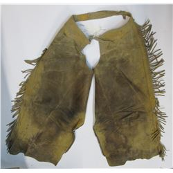 Fringed Tan Leather Chaps