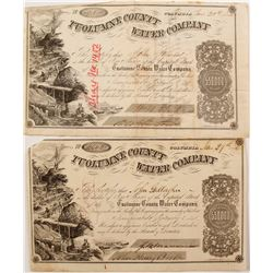 Two 1850s Tuolumne County Water Co. Stock Certificates