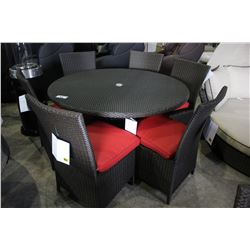 ROUND PATIO DINING TABLE WITH SIX CHAIRS - RED CUSHIONS